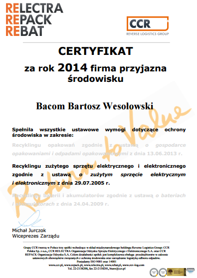 certyfikat CCR